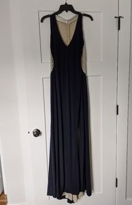 Xscape Semi/ Formal Dress Navy w/ Ivory Beading